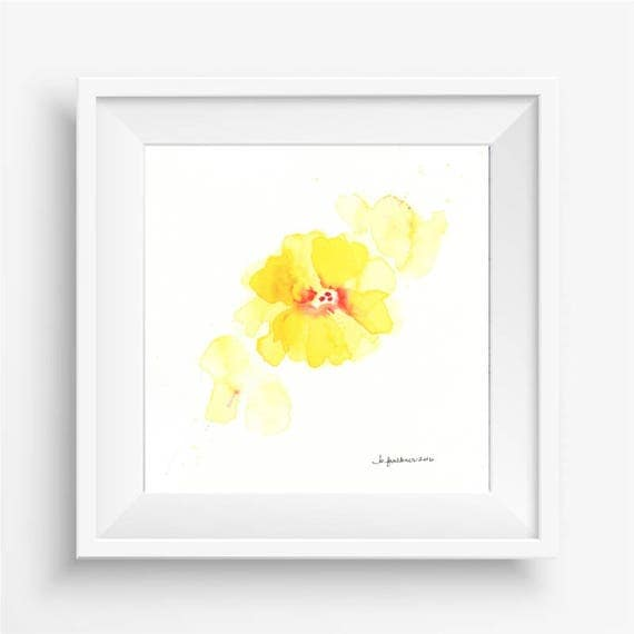 "Original watercolor flower painting: ""Splash of Yellow"""