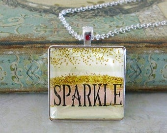 Sparkle,glitter pendant, original art pendants,Ready To Ship in a  gift box, Christmas gifts under 20 dollars