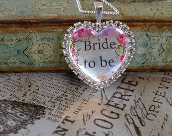 Bride to Be pendant,personalized pendants, gift boxed,Valentine's Day gifts, rhinestone heart pendants, bridal gifts