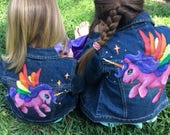 Custom Unicorn hand painted Denim Jeans Jacket available in Baby, Toddler and Girls sizes