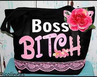 Boss Funny Cotton Canvas Bag, printed Tote, lace flower decorations, gift, beach bag, Gym Bag, black and pink, handbag, Ready to Ship