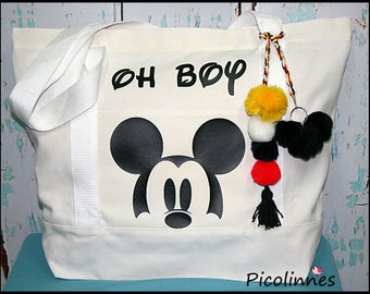 Oh Boy Vacations decorated Cotton Canvas Pom Poms Tote Bag, Vacations, Handbag, Handmade Boutique Ready to Ship