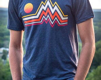 Mountain Range - Hand Printed Unisex Tee Shirt