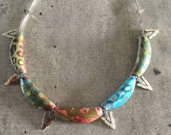 crew neck necklace with pendants / wood and  polymer clay