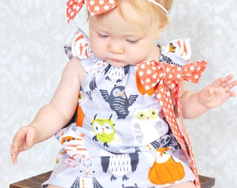 Baby Halloween Dress - Baby Outfit- Baby Halloween Owl Dress - Baby Halloween Outfit - Toddler Outfit - Owl Dress - Baby Halloween Owl Dress