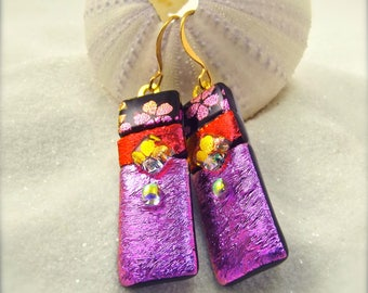 Dichroic earrings, dichroic glass jewelry, fused glass art, glass earrings handmade, trending now, hana sakura designs, gold plated jewelry