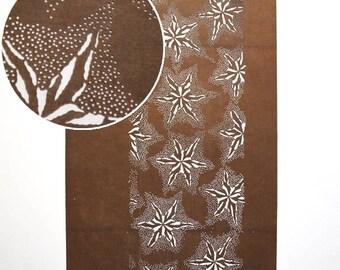 "Vintage Japanese Katagami Stencil Persimmon Paper Meiji Period ""Antique Starfish"""