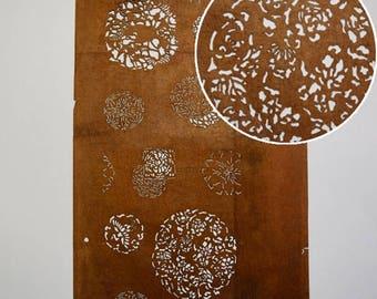 "Vintage Japanese Katagami Stencil Persimmon Paper ""Fine Medallions"""