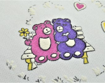 """80's Puff paint Sweatshirt ,Bears on a Bench,Lovers Cartoon,Boxy oversized,36"""" to 46"""" chest due to make,Made in USA Kneat Knits"""