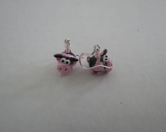 Pet Pig Handmade Earrings Made to Look like your Pig 1 Pair with Stainless Steel Hooks by Shannon Ivins