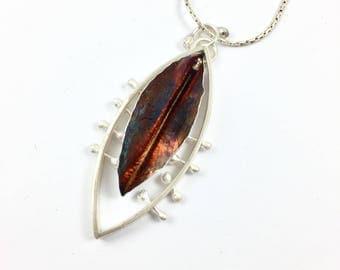 Long Silver Pendant Necklace, Modern Autumn leaf necklace