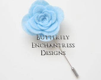 Something Blue Wedding , Mens Suit Accessories, Boutonniere, Groomsmen Best Man Gift - Addison Rose Flower Lapel Pin - Pale Blue - BE Lapel