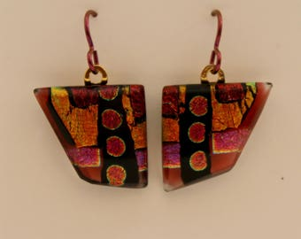Autumn Fire dichroic fused glass earrings