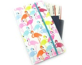 Travel Wallet, passport holder, family travel wallet, travel organizer, passport wallet, document holder - Bright Flamingo