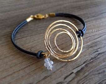 Gold Universe Abstract Circle Lines Bracelet, Sunrise Jewelry, Moon Planet Charm - Gift for Her, Moonstone Beads, Orbit Bracelet - Under 30