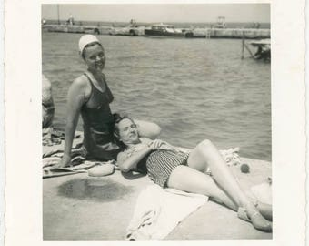 vintage photo 1950 Women Swimsuit Lays in Her Lap Lesbian int