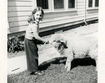 vintage photo 1911 Young Man on Farm Feeds Baby Lamb w Bottle