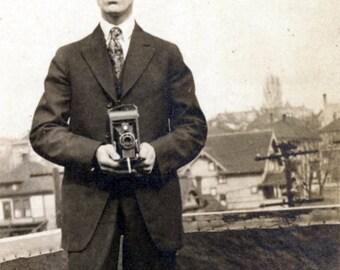 vintage photo 1923 Man in Black duelling Camera Film Noir Detective Journalist Roof top
