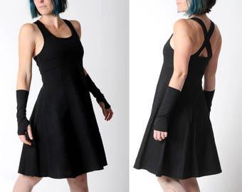 Black jersey dress, Black flared dress with crossed straps in the back, Black womens dress, Sleeveless black dress, Empire waist dress