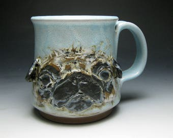 Pug Mug- Blue Glazed Face