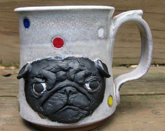 Pug Mug- Black on Two Toned White with Polka Dots