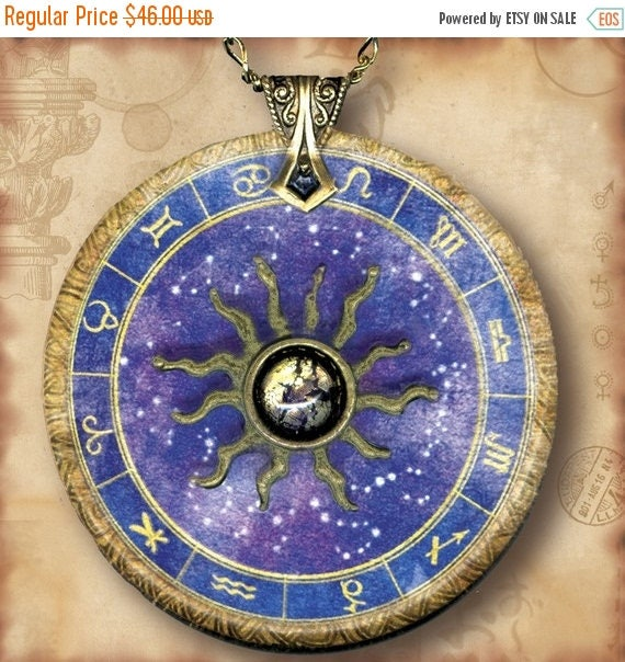 Astrology Chart Zodiac Necklace - Personalized Reversible Art  Glass -  Symbolz SHIMMERZ- The Ancient Mysteries Collection -Star Power