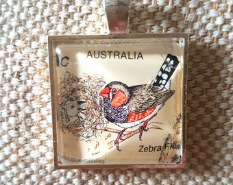 Zebra finch bird stamp 1c value necklace / upcycled Australian stamp pendant / silver plated with 24 inch chain / bird necklace jewellery