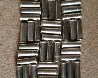 50 Empty Nickel Silver Brass Bullet Shell Casings 22 Caliber - Reclaimed Supplies for Assemblage, Altered Art or Sculpture