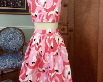 Pink Paradise flamingo two piece dress