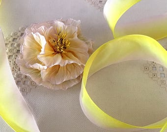 """French Wired Ribbon Acetate Whisper Pink Yellow Ombre 3 yds x 1-1/2"""" wide #375"""