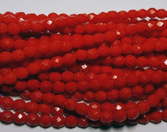 50 - Vintage Czech Fire Polished Glass 4mm Faceted Round Beads - Opaque Red