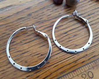 Silver earring hoops. Chandelier style hoops. Beadwork, Jewelry making, Jewelry supply.