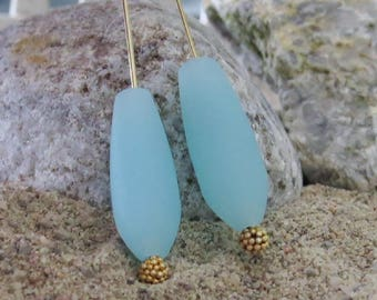 Seafoam 18mm Sea Glass Teardrop Bead : 6 pc Elongated Aqua Drop Man Made Beach Glass