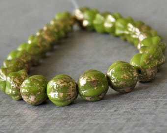 Olive Gold Czech Glass Bead 6mm Melon Round : 25 pc Avocado Fluted  6mm Bead