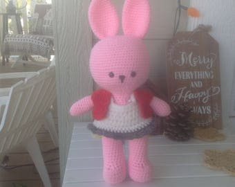 Pink Bunny with White Dress and Red Vest