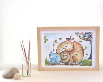 blue elephant print, children wall, whimsical art, girl gifts, baby girl, A4 limited print, beilexian