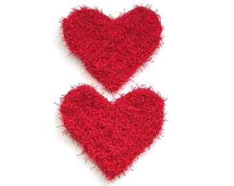 Dish Scrubby, Dish Scrubbies, Red Crochet Scrubbies, Hearts, Pot Scrubber, Eco Friendly Kitchen Scrubby, Set  of 2