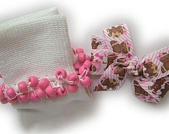 Kathy's Beaded Socks - Pink Gingerbread Socks and Hairbow, school socks, pink socks, gingerbread socks, holiday socks, brown socks