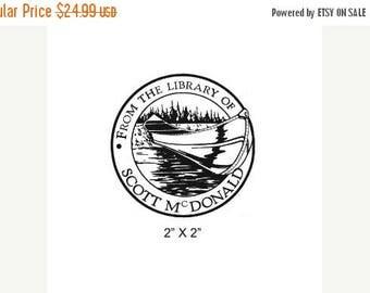 Super Summer Sale Canoe in the Water Custom Bookplate Ex Libris Rubber Stamp I02