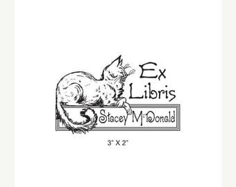 Super Summer Sale Persian Cat Looks On with Disdain  Personalized Ex Libris Rubber Stamp K19