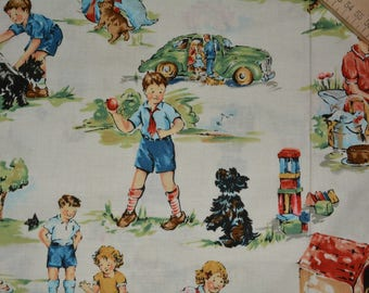 ALEXANDER HENRY fabric OOP 1950s Vintage kids Little Golden Book style Americana family values fabric