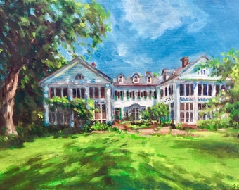 Wedding Venue Home House Portrait, 8 x 10 custom oil painting, made to order