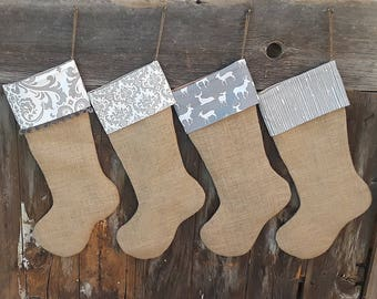 Family Stockings Burlap Christmas, Burlap Stocking Personalized Burlap Stockings, Farmhouse Christmas Rustic Christmas, Custom Stocking Name