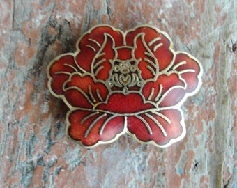 Cloisonne Lotus Flower Pendant, Enamel Focal Bead