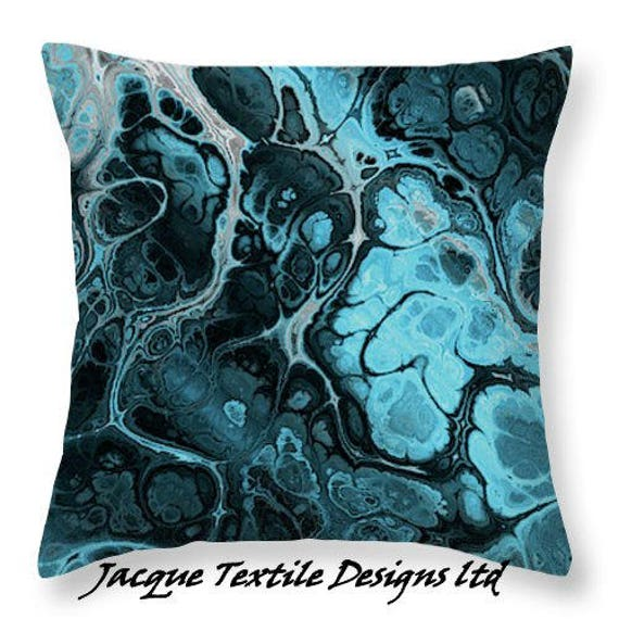 Blue Lightening Decorative Designer Artist Created Pillow 16 inch Square with Zipper and Insert