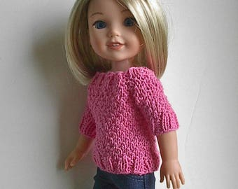 "14.5"" Doll Clothes Knit Sweater with Short Sleeves Handmade to fit Wellie Wishers dolls - Pink Short Sleeve Sweater with four buttons"