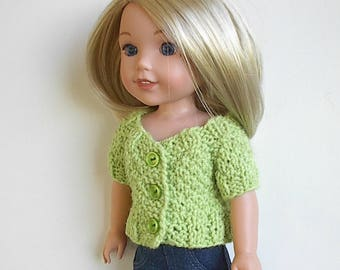 "14.5"" Doll Clothes Knit Sweater with Short Sleeves Handmade to fit Wellie Wishers dolls - Honeydew Short Sleeve Sweater with three buttons"