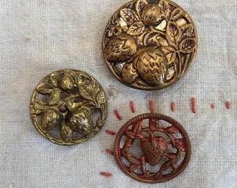 3 Vintage Metal Buttons Strawberry Design