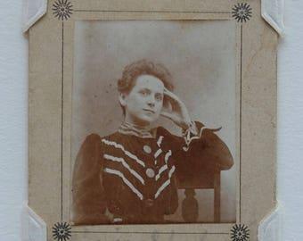 Vintage Paper Frame Photograph Portrait Woman