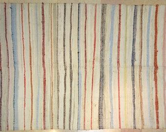 "5.5' x 10' Stripe Vintage Village ""Rag Rug"" Offwhite Multicolor"